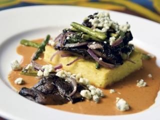 Blue cheese polenta with a roasted red pepper sauce