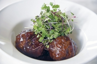 Housemade meatballs with an Asian barbecue sauce