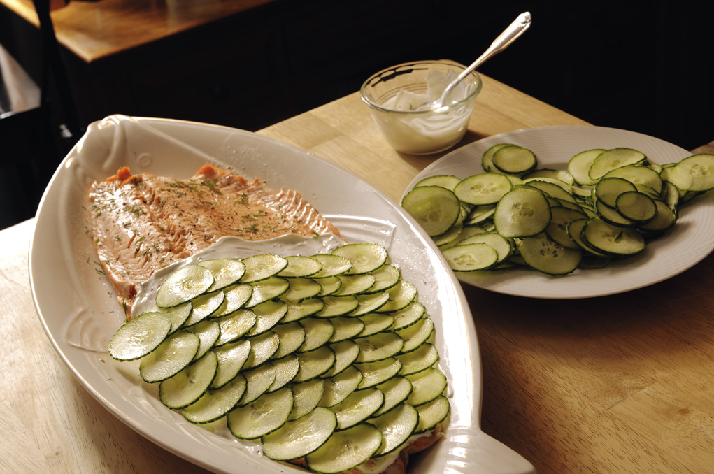 Poached Salmon with Cucumber Scales