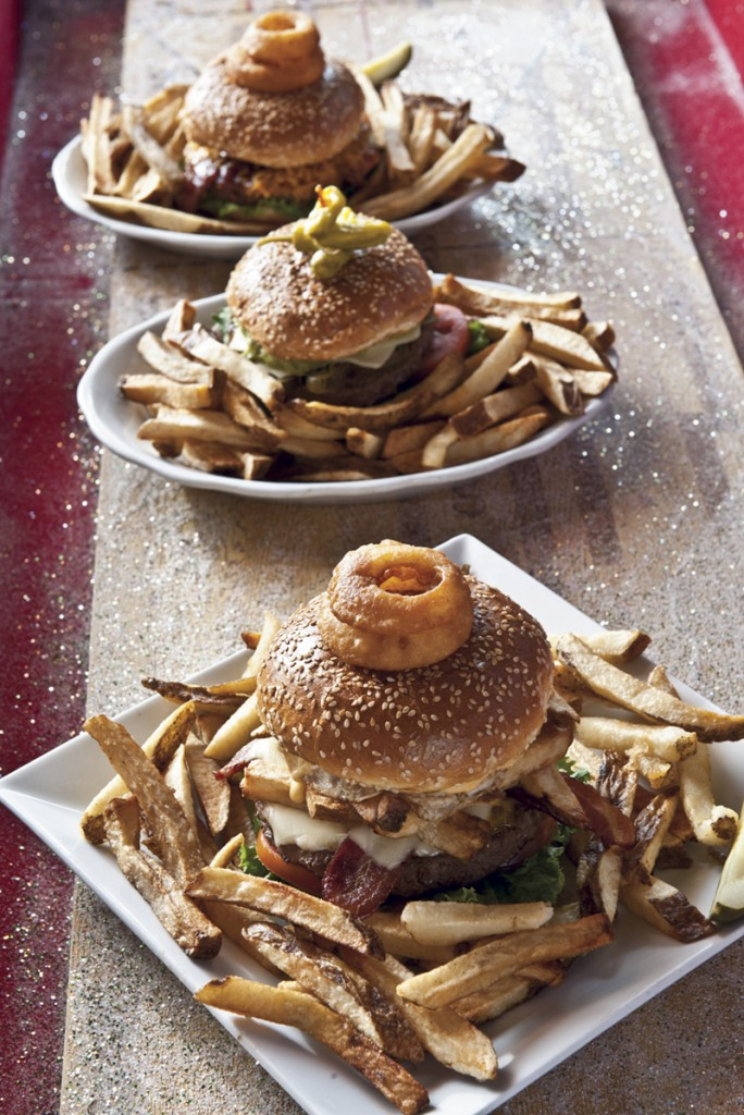 Several burgers from Monkey Wrench