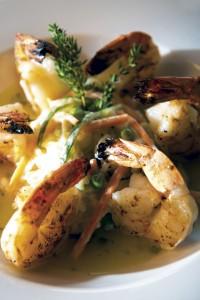 Grilled jumbo shrimp in a garlic sauce