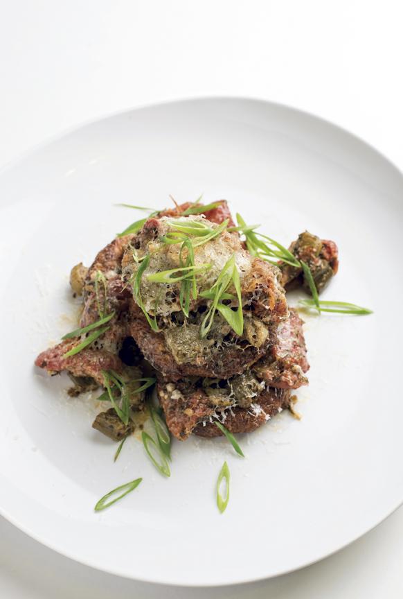 Eggplant gratin of Creole-stewed okra and tomatoes