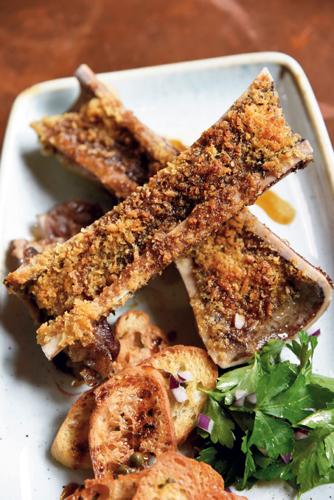 Parmesan-crusted bone marrow and veal glacé with crostini