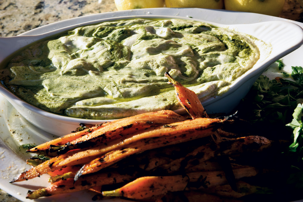 Grilled carrots and goat cheese fondue