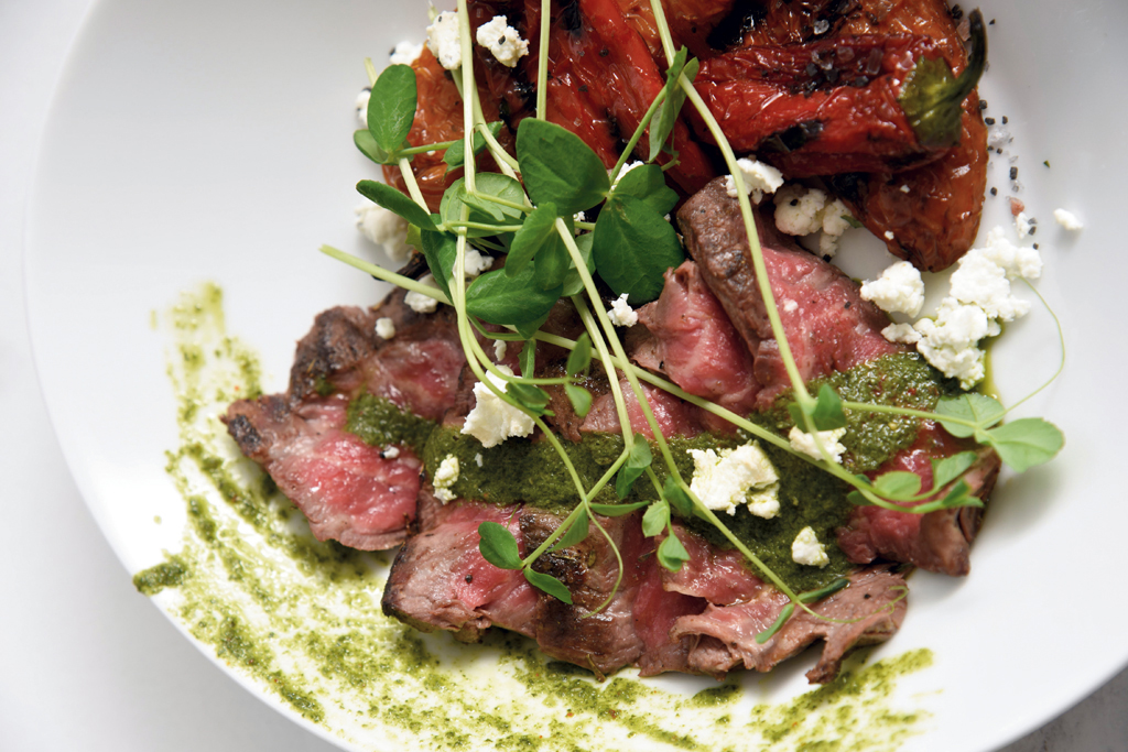 Ribeye cap with house-made chimichurri, goat cheese and fire-roasted peppers
