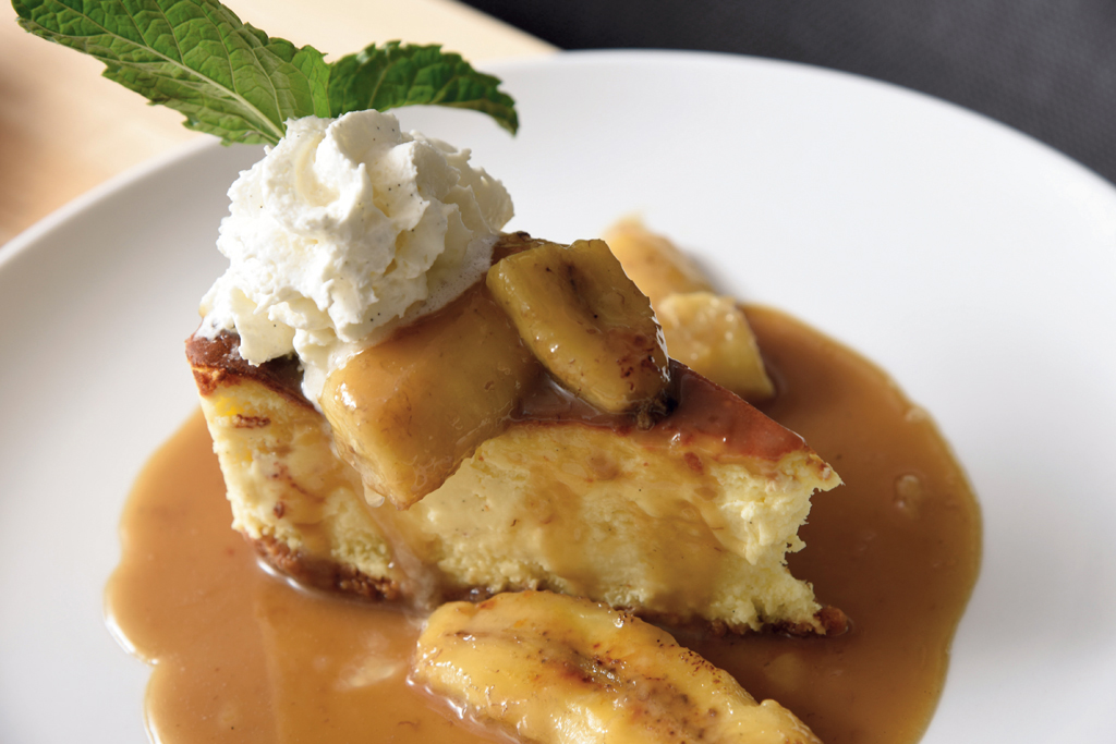 Brooklyn's cheesecake topped with bananas Foster