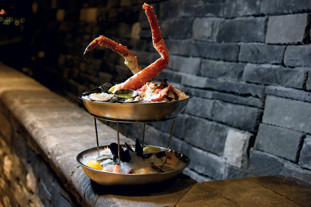 The River Tower — lobster, jumbo shrimp, oysters on the half shell, colossal lump crab and mussels, with king crab legs