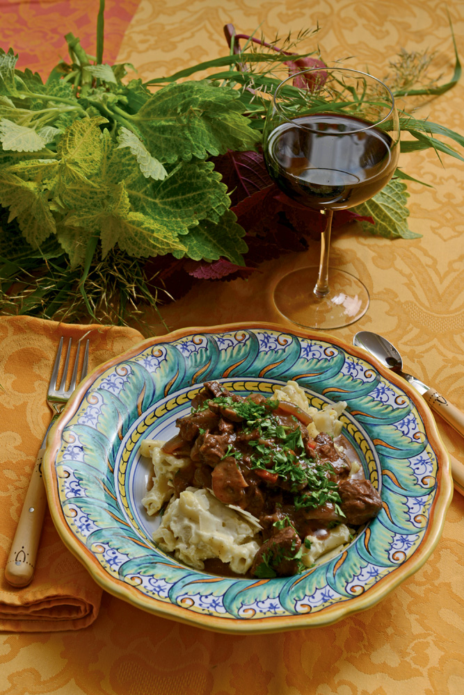 Beef bourguignonne with capanelle pasta