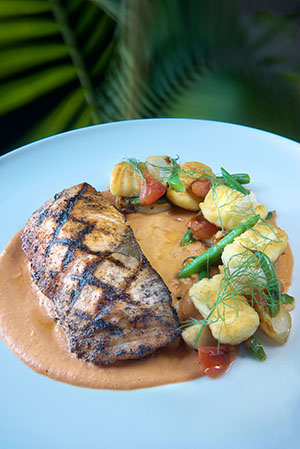 Grilled Salmon- potato gnocchi, artichoke, haricot vert, cippolini onion and tomato broth reduction - Photo Credit John Nation_preview