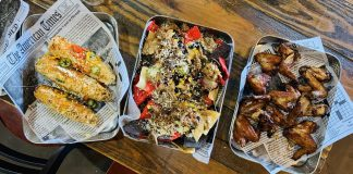 Diamonds Mexican Street Corn, Pork Nachos and Koren BBQ Wings